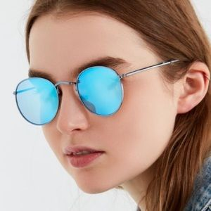 Urban outfitters reflective blue circle sunglasses